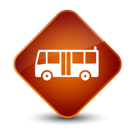 brown: Bus icon isolated on elegant brown diamond button abstract illustration