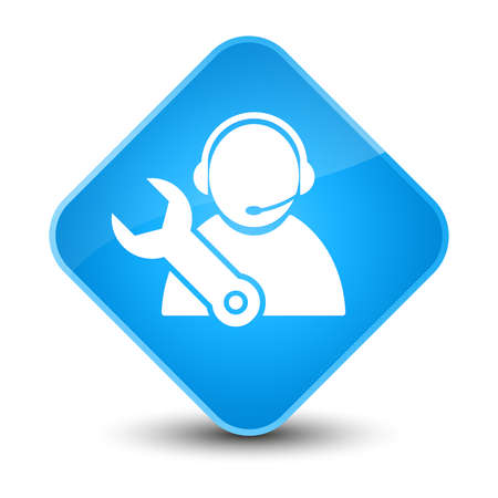 customer: Tech support icon isolated on elegant cyan blue diamond button abstract illustration Stock Photo