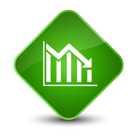 report icon: Statistics down icon isolated on elegant green diamond button abstract illustration