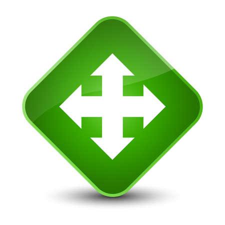 Move icon isolated on elegant green diamond button abstract illustration Stock Photo