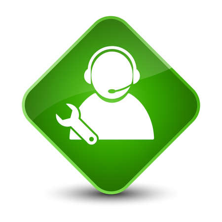 Tech support icon isolated on elegant green diamond button abstract illustration Stock Photo