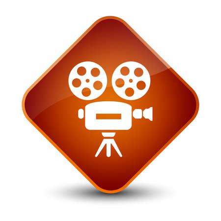 Video camera icon isolated on elegant brown diamond button abstract illustration Stock Photo