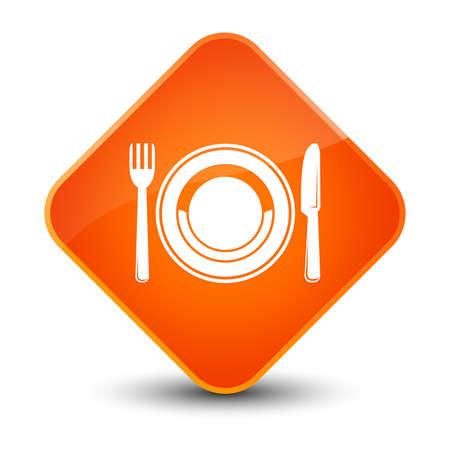 food plate: Food plate icon isolated on elegant orange diamond button abstract illustration Stock Photo