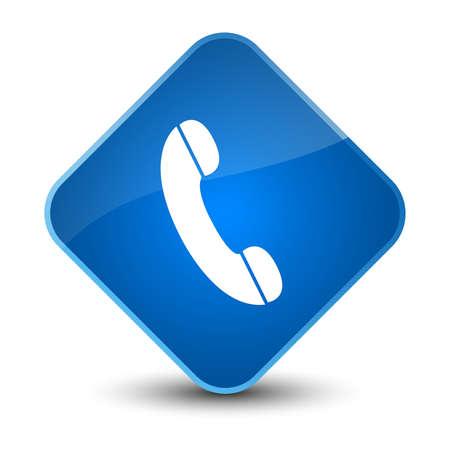 Phone icon isolated on elegant blue diamond button abstract illustration