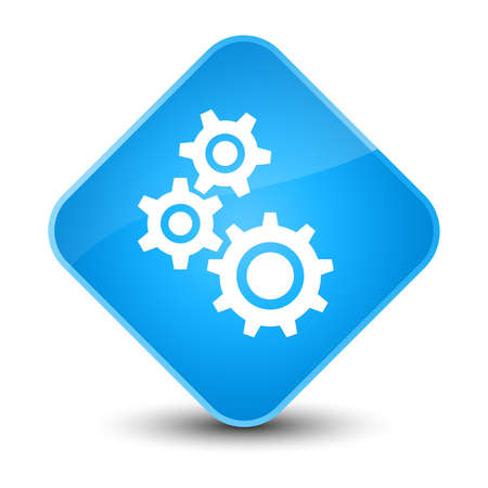 Gears icon isolated on elegant cyan blue diamond button abstract illustration Stock Photo