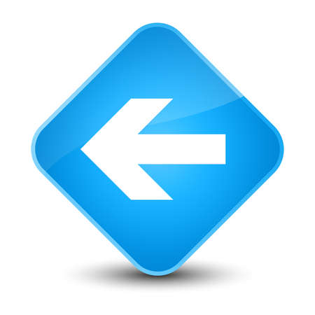 Back arrow icon isolated on elegant cyan blue diamond button abstract illustration