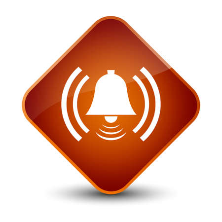 Alarm icon isolated on elegant brown diamond button abstract illustration Stock Photo