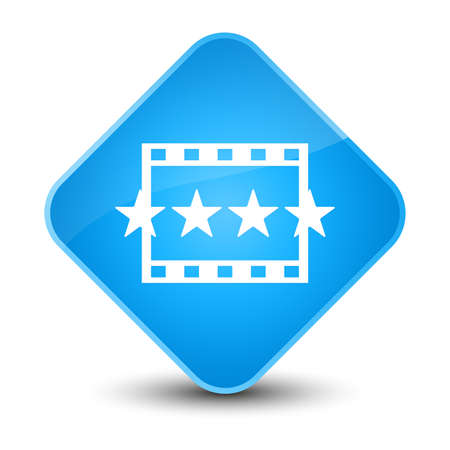 rate: Movie reviews icon isolated on elegant cyan blue diamond button abstract illustration