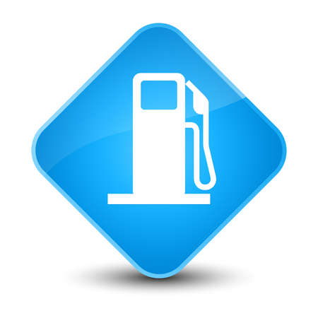 filling station: Fuel dispenser icon isolated on elegant cyan blue diamond button abstract illustration