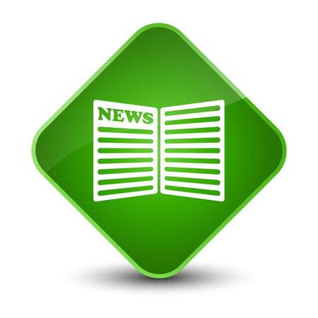 Newspaper icon isolated on elegant green diamond button abstract illustration