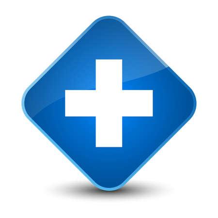 cross: Plus icon isolated on elegant blue diamond button abstract illustration Stock Photo
