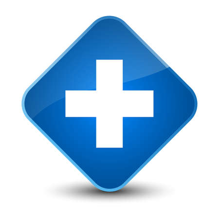 Plus icon isolated on elegant blue diamond button abstract illustration Stock Photo
