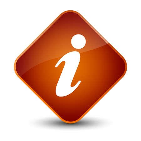 Info icon isolated on elegant brown diamond button abstract illustration