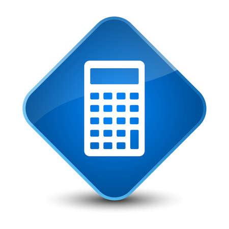 Calculator icon isolated on elegant blue diamond button abstract illustration