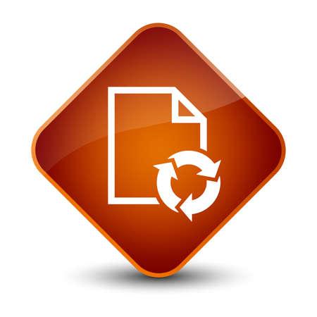 Icono de proceso de documento aislado en elegante ilustración abstracta de botón de diamante marrón Foto de archivo