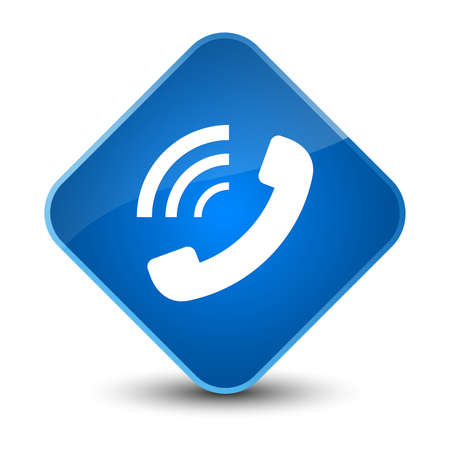 Phone ringing icon isolated on elegant blue diamond button abstract illustration Stock Photo