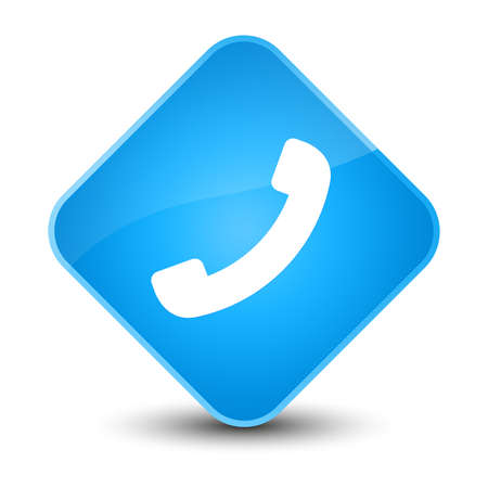 blue button: Phone icon isolated on elegant cyan blue diamond button abstract illustration