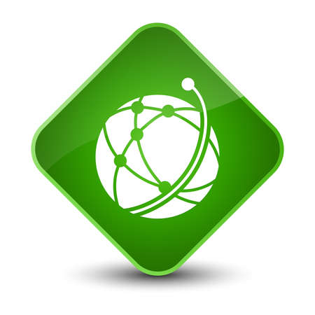 Global network icon isolated on elegant green diamond button abstract illustration Stock Photo