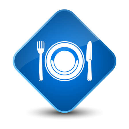 diamond plate: Food plate icon isolated on elegant blue diamond button abstract illustration