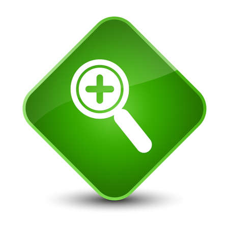 zoom: Zoom in icon isolated on elegant green diamond button abstract illustration Stock Photo