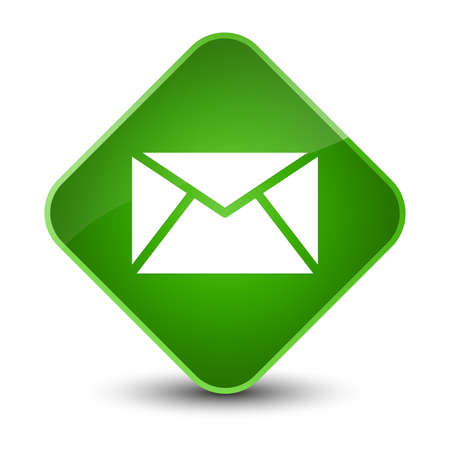 letter: Email icon isolated on elegant green diamond button abstract illustration