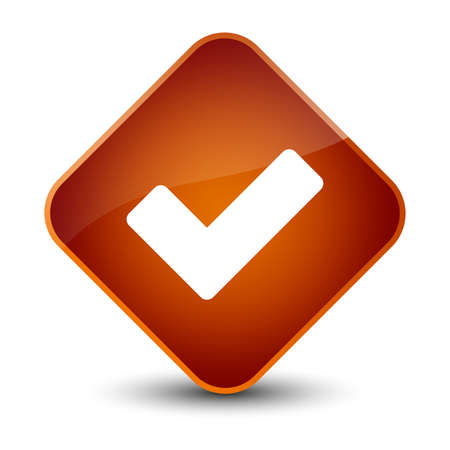 validate: Validate icon isolated on elegant brown diamond button abstract illustration Stock Photo
