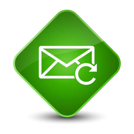 envelope: Refresh email icon isolated on elegant green diamond button abstract illustration