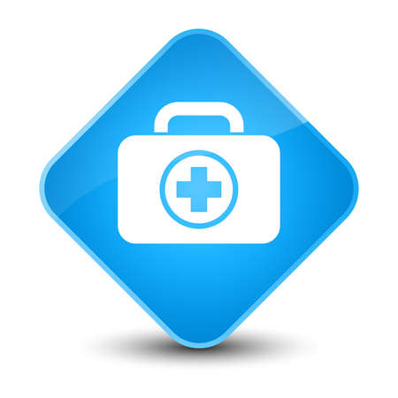 First aid kit icon isolated on elegant cyan blue diamond button abstract illustration