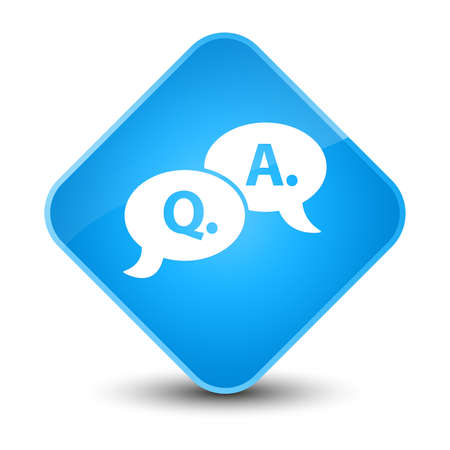 questions: Question answer bubble icon isolated on elegant cyan blue diamond button abstract illustration
