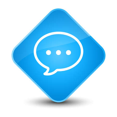 blue button: Talk bubble icon isolated on elegant cyan blue diamond button abstract illustration