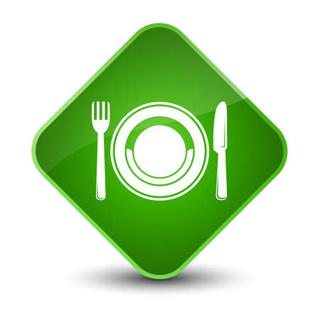 Food plate icon isolated on elegant green diamond button abstract illustration