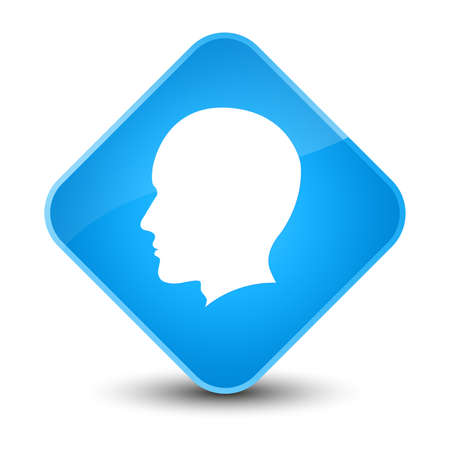 blue button: Head male face icon isolated on elegant cyan blue diamond button abstract illustration