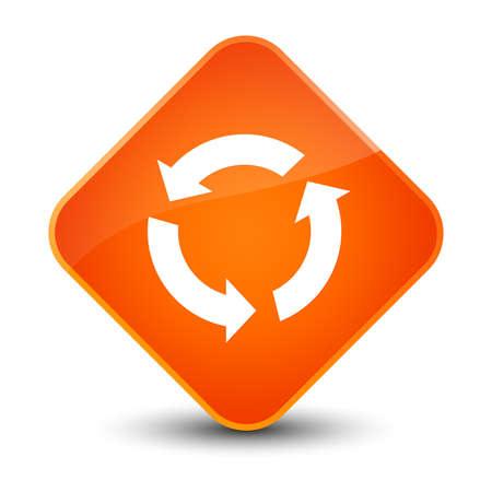 Refresh icon isolated on elegant orange diamond button abstract illustration