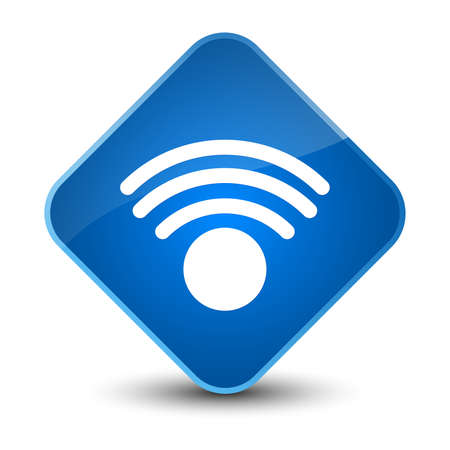 blue button: Wifi icon isolated on elegant blue diamond button abstract illustration Stock Photo