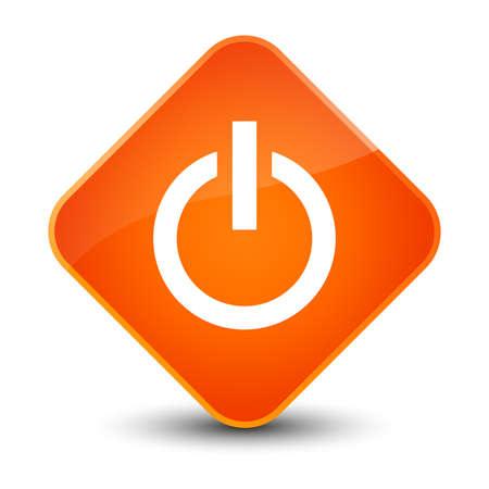 switch off: Power icon isolated on elegant orange diamond button abstract illustration Stock Photo