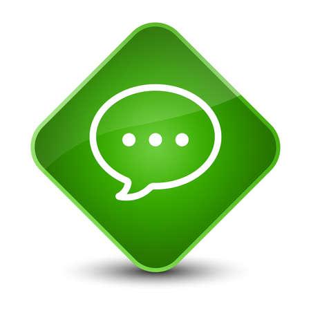 diamond: Talk bubble icon isolated on elegant green diamond button abstract illustration