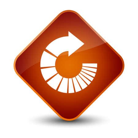 Rotate arrow icon isolated on elegant brown diamond button abstract illustration