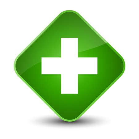 cross: Plus icon isolated on elegant green diamond button abstract illustration