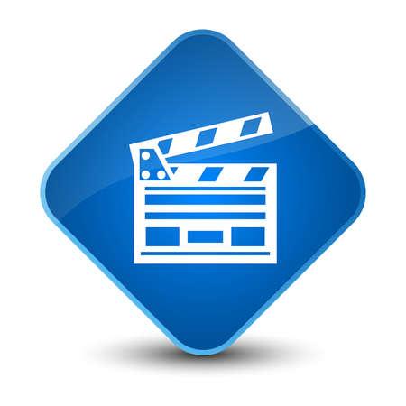 movie film: Cinema clip icon isolated on elegant blue diamond button abstract illustration Stock Photo