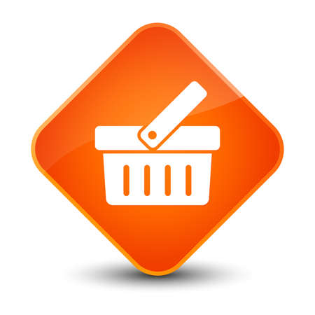 Shopping cart icon isolated on elegant orange diamond button abstract illustration Foto de archivo