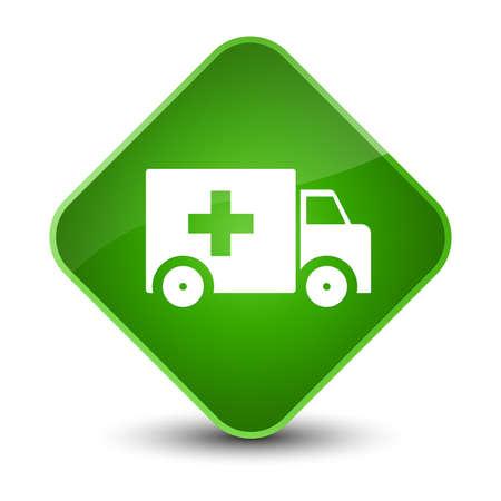 Ambulance icon isolated on elegant green diamond button abstract illustration