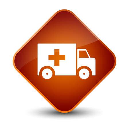 Ambulance icon isolated on elegant brown diamond button abstract illustration