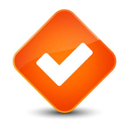 validate: Validate icon isolated on elegant orange diamond button abstract illustration