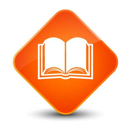 book: Book icon isolated on elegant orange diamond button abstract illustration
