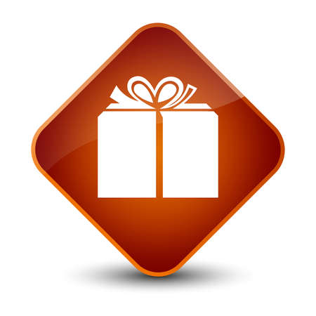 Gift box icon isolated on elegant brown diamond button abstract illustration Stock Photo