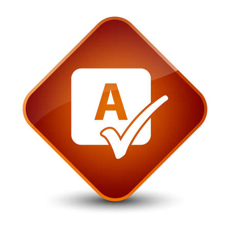 reviews: Spell check icon isolated on elegant brown diamond button abstract illustration Stock Photo