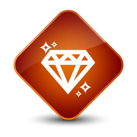 diamond: Diamond icon isolated on elegant brown diamond button abstract illustration