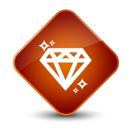 Diamond icon isolated on elegant brown diamond button abstract illustration
