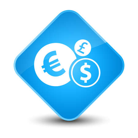Finances icon isolated on elegant cyan blue diamond button abstract illustration