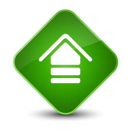 diamond: Upload icon isolated on elegant green diamond button abstract illustration Stock Photo